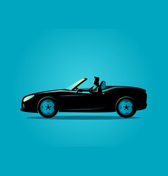 successful businessman driving a convertible car vector image
