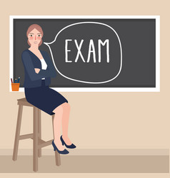 Teacher sitting in front of class writing exam in vector