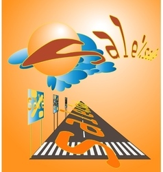 the road direction of sales vector image