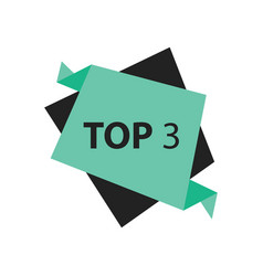 Top3 text in label black green vector
