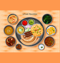 Traditional cuisine and food meal thali of uttar vector