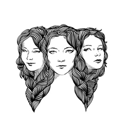 Triple portrait of beautiful ladys vector image
