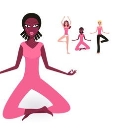 yoga multicultural girls collection vector image vector image