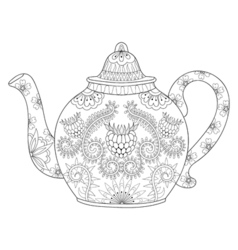 Zentangle stylized ornamental teapod to make a tea vector