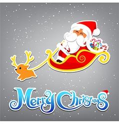 035 Merry Christmas Santa and christmas text vector image vector image
