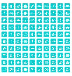 100 child center icons set grunge blue vector