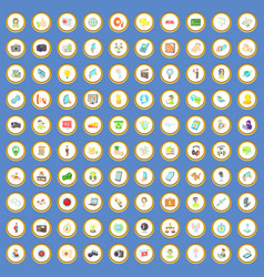 100 media icons set cartoon vector