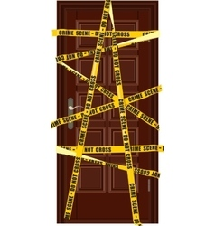 Closed dooor with yellow police tape vector