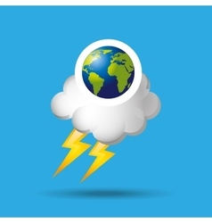Globe earth weather meteorology cloud lightning vector