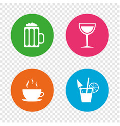 Drinks signs coffee cup glass of beer icons vector