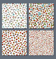 set of seamless love and music patterns vector image