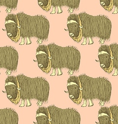 Sketch fancy yak in vintage style vector