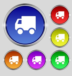 Delivery truck icon sign round symbol on bright vector