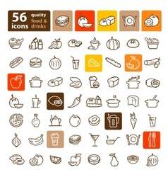Food and fruit set vector
