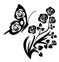 Black butterfly and flowers vector