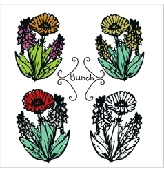 Four hand-drawn flower bunches vector