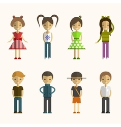 Set of people cartoon characters in flat vector