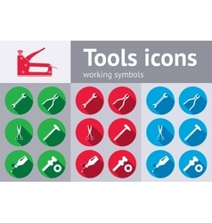 Tools icons set glue pliers stapler hammer vector