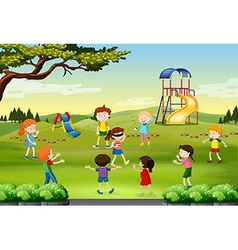 Children playing blind folded in the park vector