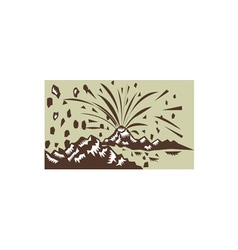 Volcano eruption island woodcut vector