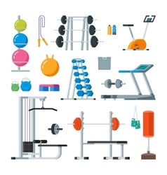 Fitness and workout exercise in gym set of vector