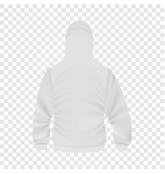 Back of white hoodie mockup realistic style vector