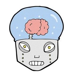 Comic cartoon spooky robot head vector
