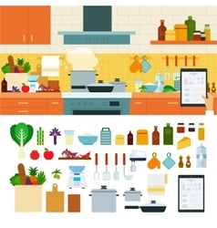Cooking at home using online recipes app vector image