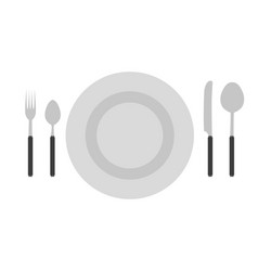 cutlery set fork spoon knife icon isolated vector image