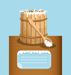 Dairy products advertising with milk wooden barrel vector