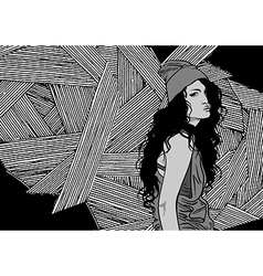 girl on black and white background vector image