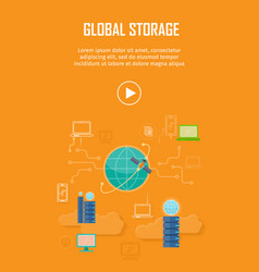 Global storage video web banner in flat style vector