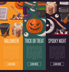 Halloween party cartoon flyers set vector