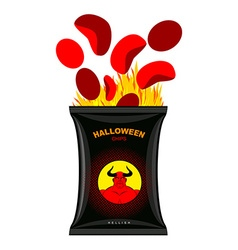 Hellish chips for Halloween Packing snacks with vector image vector image