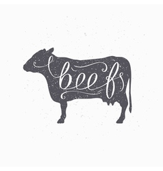Hipster style cow silhouette Beef meat hand vector image