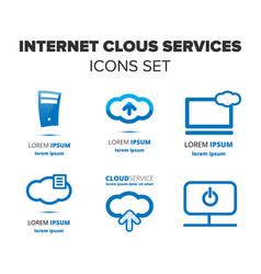 Internet cloud services icon set vector