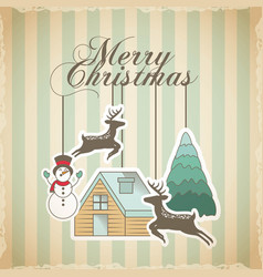merry christmas decoration card vector image vector image
