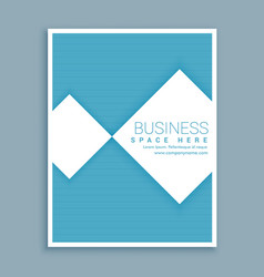 Minimal blue and white business brochure flyer vector