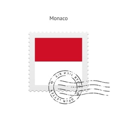 Monaco flag postage stamp vector