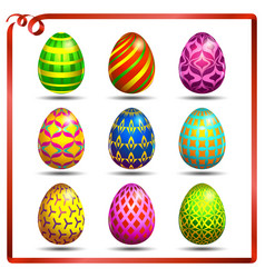 Multi colored easter eggs on a white background vector