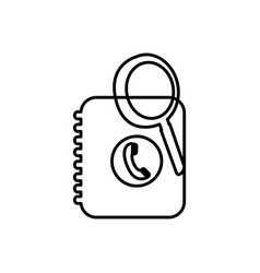 Notebook with phone sign and magnifying glass vector