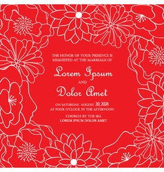 Red floral card vector