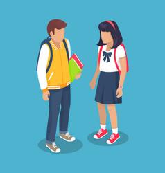 schoolchildren from secondary school with backpack vector image