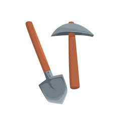 Shovel and pickaxe tools mining industry vector