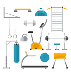 Sport equipment flat icons isolated on white vector
