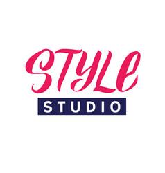 Style studio logo beauty lettering custom vector