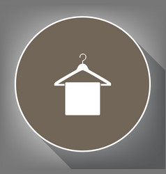 towel on hanger sign white icon on brown vector image