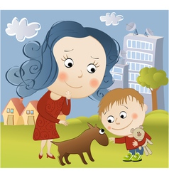 Walking with dog vector