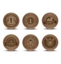Wooden beer emblems mats icons set vector