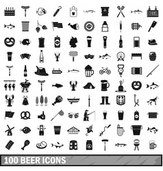 100 beer icons set simple style vector image vector image
